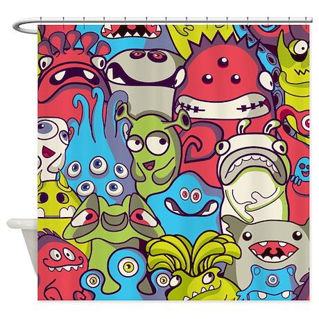 monsters u0026 aliens shower curtain