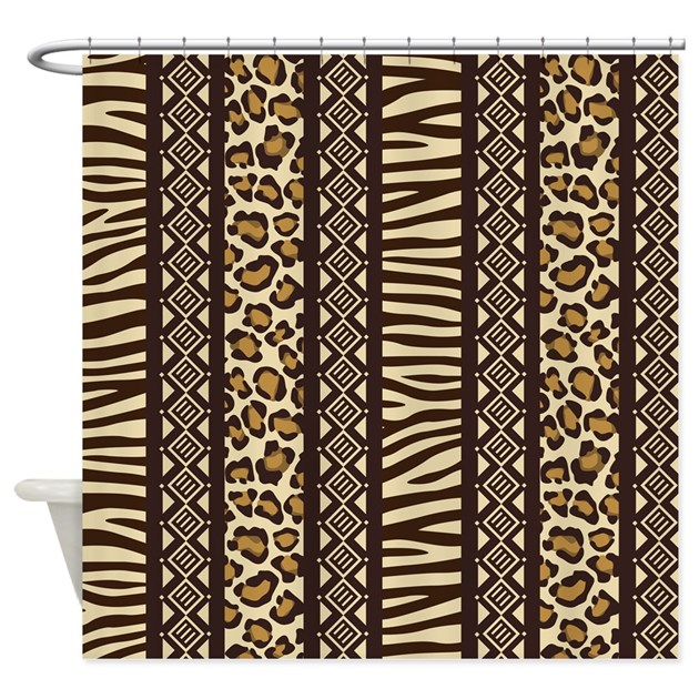 Black Brown African Pattern Tribal Cloth Shower Curtains | Black ...