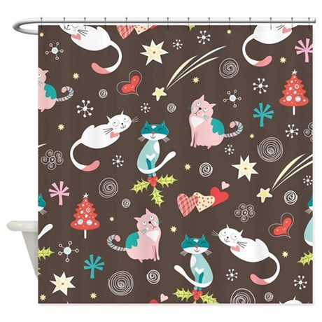 Christmas Cats Shower Curtain