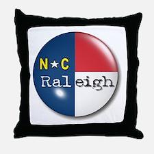 Raleigh North Carolina Flag Throw Pillow