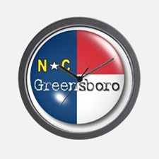 Greensboro North Carolina Flag Wall Clock