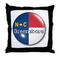 Greensboro North Carolina Flag Throw Pillow