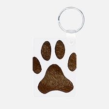 fur paw print Keychains