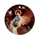 Angel1 - Siberian cat Ornament (Round)