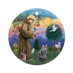 StFrancis - Siberian Cat Ornament (Round)