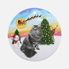 Take Off - Siberian Cat Ornament (Round)