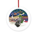 XmasMagic-Siberian Cat Ornament (Round)