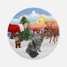 Treat for a Siberian cat Ornament (Round)