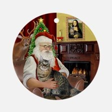 Santa's Bobtail Cat Ornament (Round)