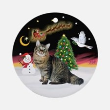 NightFlight-Bobtail Cat Ornament (Round)