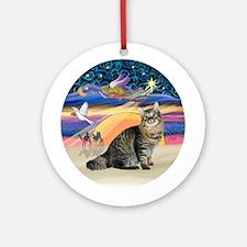 XmasAngel-Bobtial Cat Ornament (Round)