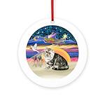 XmasAngel-Exotic Short Hair Cat 1 Ornament (Round)