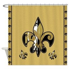 Black and Gold fleur de lis Shower Curtain
