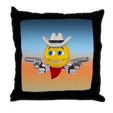 Cowboy Smiley Face Throw Pillow