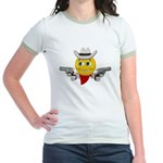 Cowboy Smiley Face Jr. Ringer T-Shirt