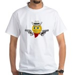 Cowboy Smiley Face White T-Shirt