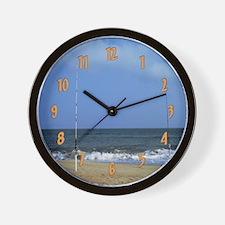 Ocean Between Fishing Poles Wall Clock