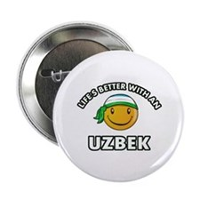 "Lifes better with an Uzbek 2.25"" Button (100 pack)"