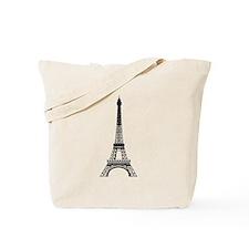 Eiffel Tower Black Tote Bag