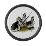 Goslings on Grass Large Wall Clock