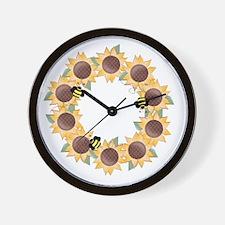 Sunflower Wreath Ring Wall Clock