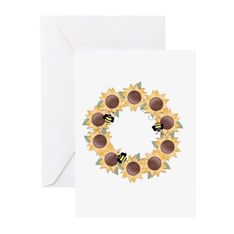Sunflower Wreath Ring Greeting Cards (Pk of 10