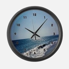 Wave Rolling Onto Beach Large Wall Clock