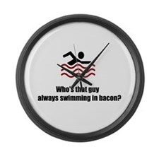 Swimming In Bacon Large Wall Clock