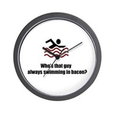 Swimming In Bacon Wall Clock