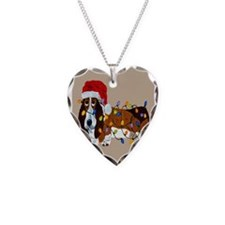 Basset Tangled In Christmas Lights Necklace