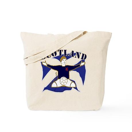 Scotland Saltire Footballer Celebrate Tote Bag