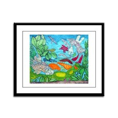 Fish painting by Nancy Porter. Framed Panel Print