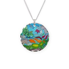 Fish painting by Nancy Porter. Necklace