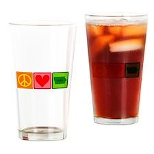Peace Love Iowa Drinking Glass