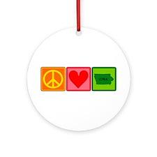 Peace Love Iowa Ornament (Round)