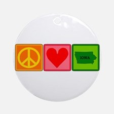 Peace Love Iowa Ornament (Round)
