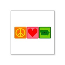 "Peace Love Iowa Square Sticker 3"" x 3"""