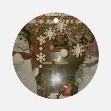 Snow Many Snowmen And Stars Two Ornament (Round)
