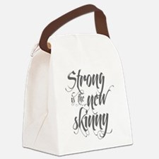 Strong is the New Skinny - Gray Canvas Lunch Bag