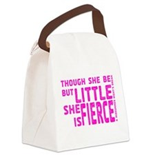 She is Fierce - Stamped Pink Canvas Lunch Bag