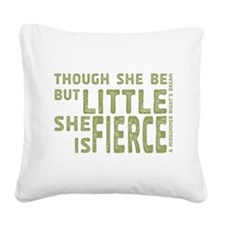 She is Fierce - Stamped Olive Square Canvas Pillow
