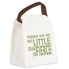 She is Fierce - Stamped Olive Canvas Lunch Bag