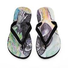 Chimpanzee! Wildlife art! Flip Flops