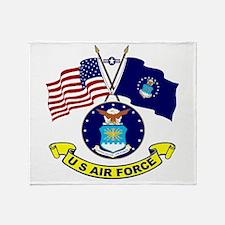 USAF-USA Flags Throw Blanket