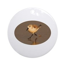 Sand piper running on a beach Ornament (Round)