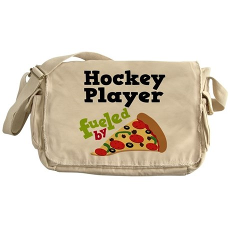 Hockey Player Pizza Messenger Bag