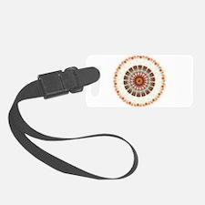 Detailed Orange Earth Mandala Luggage Tag