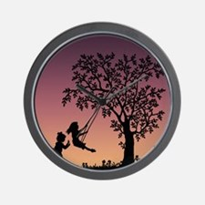 Children Playing With Swing Wall Clock
