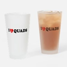 I Heart Quads Drinking Glass