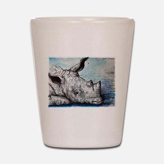 Rhino! Wildlife art! Shot Glass